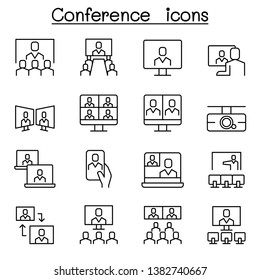 Conference ,meeting, seminar icon set in thin line style