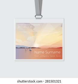 conference name tag mockup template with summer theme vector illustration. Ocean view landscape with sailing boats and airplane flights on colorful sunrise
