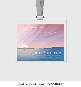 Conference name tag mockup template with summer theme vector illustration. Ocean view landscape with sailing boats and airplanes