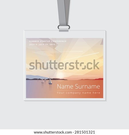 conference name tag mockup template summer stock vector royalty