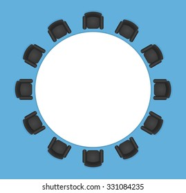 Conference or office table with black leather seats. Circle shaped, top view