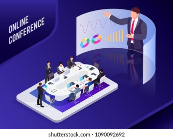 Conference online. Isometric business concept. 3d businessmen sit at a large table and listen to a report, analyze data on computers. Business meeting on the smartphone. Vector illustration.