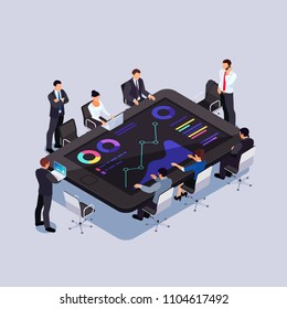 Conference online. Isometric business concept. 3d businessmen analyze data on smartphone screen. Business meeting on the smartphone. Vector illustration.