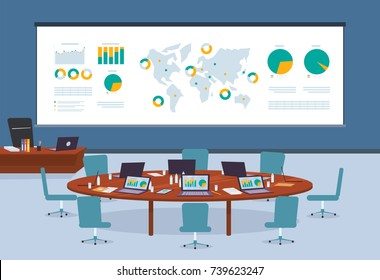 Conference room in business center with infographic world map background