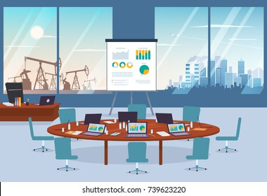 Conference room in business center with oil spill and modern city on the background