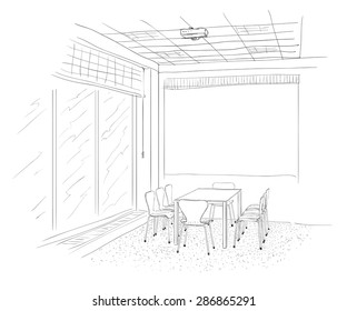 Conference room interior with a screen.