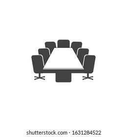 Conference room sign. Presentation stage. Business meeting office elements. Flat minimalist design. white background Gray black vector. product brand service label banner board display. App icon.