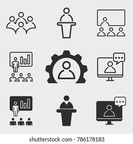 Conference vector icons set. White illustration isolated for graphic and web design.