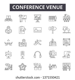 Conference venue line icons, signs set, vector. Conference venue outline concept, illustration: modern,venue,conference,business,office,frame,international,tall,construction