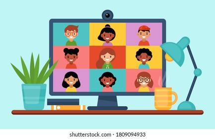 Conference video call concept. Online education and learning from home with computer screen. Flat style cartoon vector illustration
