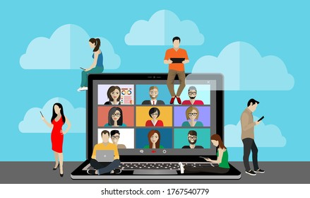 Conference video call. Online communication. Working from home. Remote project management, online education, online lessons, quarantine, communication with friends, colleagues. Vector illustration.