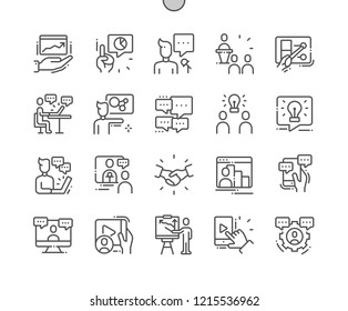 Conference Well-crafted Pixel Perfect Vector Thin Line Icons 30 2x Grid for Web Graphics and Apps. Simple Minimal Pictogram