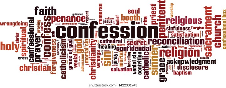 Confession word cloud concept. Collage made of words about confession. Vector illustration