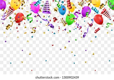 Confetti background with Party poppers and air balloons isolated. Birthday background. Festive vector illustration