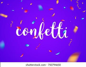Confetti background vector isolated. Falling confetti birthday party decoration.