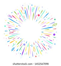 Confetti burst cartoon illustration. Isolated on white, cheerful colors. Festive vector design template with transparent elements.