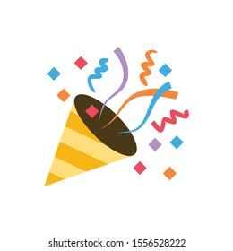 Confetti cannon, paper shoot icon for banner, general design print and websites. Illustration vector.