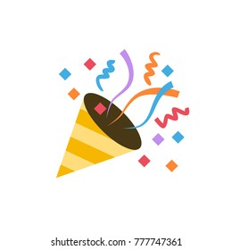 Confetti celebrating colorful flat vector illustration symbol