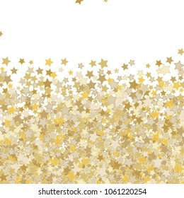 Confetti Celestial Vector Background. Glittering Scattered Random Stars. Decorative abstract dynamic backdrop. Holiday, celebration decorations, paper packaging, textile design, covers