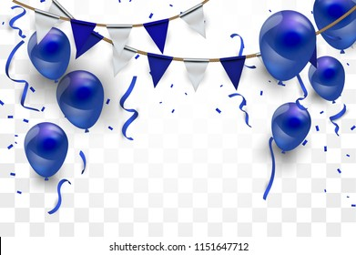 Confetti concept design background. blue balloons, Celebration Vector illustration. Party flags with confetti.