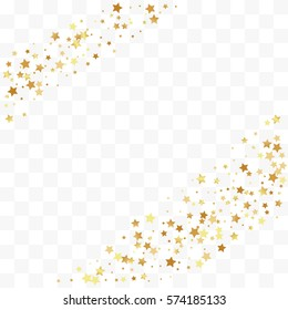 Confetti cover from gold stars. Corner ribbons. Design element, special effect on transparent background.
