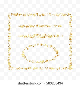 Confetti cover from gold stars. Decorations, frame and dividers. Design element, special effect on transparent background.