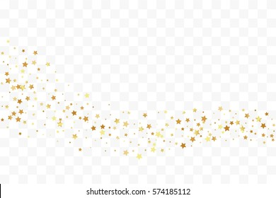 Confetti cover from gold stars. Horizontal wavy path. Design element, special effect on transparent background.