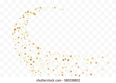 Confetti cover from gold stars. Spiral path. Design element, special effect on transparent background.