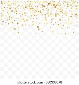 Confetti cover from gold stars. Top border. Design element, special effect on transparent background.