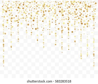 Confetti cover from gold stars. Top border from falling sparklers and tracks. Design element, special effect on transparent background.