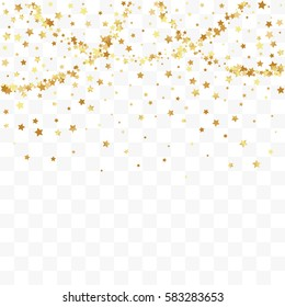 Confetti cover from gold stars. Top border from falling sparklers and garland. Design element, special effect on transparent background.