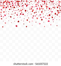 Confetti cover. Transparent background. Top border from falling hearts.