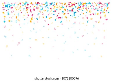 Confetti decoration elements for birthday, carnival, anniversary, holiday and celebration party background. Top border.