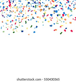 Confetti Falling Vector. Bright Explosion Isolated On White. Background For Birthday, Anniversary, Party, Holiday Decoration.