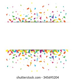 confetti and firework background, can be use for celebration, new year party, christmas card.  also design for web page, business sale banner, vector illustration