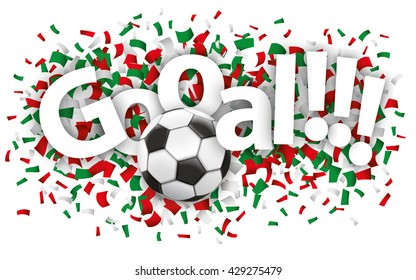 """Confetti with football and text """"goal"""". Eps 10 vector file."""