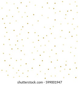Confetti. Gold textured polka dots isolated.