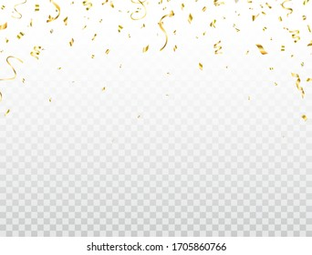 Confetti golden frame. Shiny party background. Glitter gold confetti falling on transparent background. Bright festive tinsel. Celebration holiday design elements for web, flyer. Vector illustration.