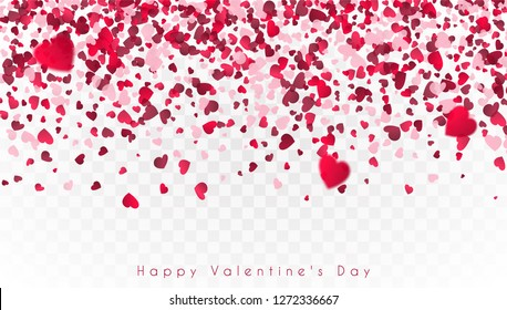 Confetti of hearts falling down on a transparent background. Valentine's Day. EPS 10