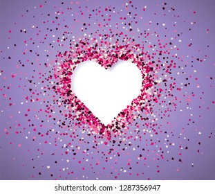 Confetti of hearts on a purple background. Valentine's Day. Vector holiday illustration. EPS 10