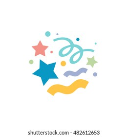 Confetti icon in flat color style. Object celebration falling paper party