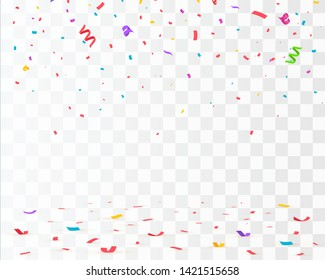 Confetti isolated. Falling confetti, birthday vector illustration