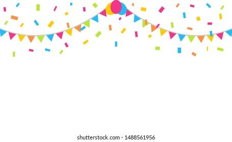 Confetti On White Background. Celebration & Party. vector illustration