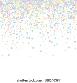 confetti on white background. pastel circles. decoration for the holiday. greeting card. falling confetti. Falling down from the top of the circle of confetti. circles confetti fall from top to bottom