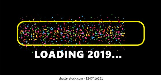 Confetti party loading bar 2019 Happy new year Loading bar 2018 2019. Vector eps banner wallpaper poster template sign signs fun funny celebration party Xmas merry christmas falling tiny colored
