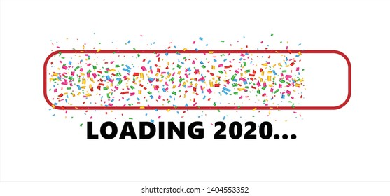 Confetti party loading bar 2019 Happy new year Loading bar 2020 Vector icon banner wallpaper poster template sign signs fun funny celebration party Xmas merry christmas falling tiny colored Fun funny