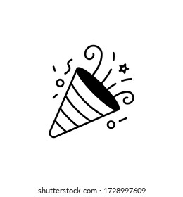 Confetti Party Popper line icon vector, logo illustration isolated on white