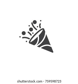 Confetti popper icon vector, filled flat sign, solid pictogram isolated on white. Party symbol, logo illustration