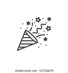Confetti Popper line icon, outline vector sign, linear pictogram isolated on white. logo illustration