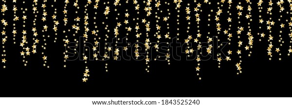 Confetti of shooting golden stars. Golden stars. Festive background, design cards, invitations. Abstract texture on a black background. Design element. Vector illustration, eps 10.